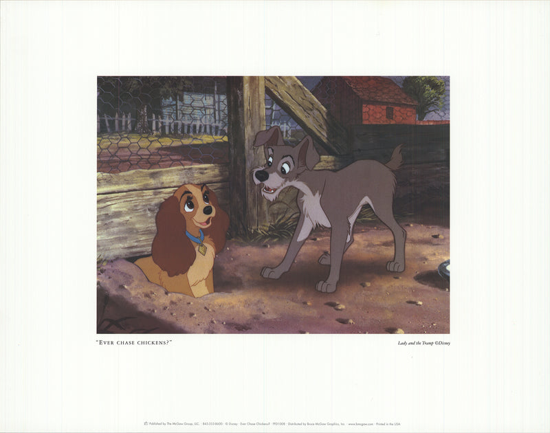 "WALT DISNEY Ever Chase Chickens? 11"" x 14"" Offset Lithograph"