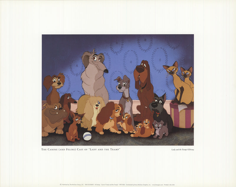 "WALT DISNEY The Cast of ""Lady and the Tramp"" 11"" x 14"" Offset Lithograph"