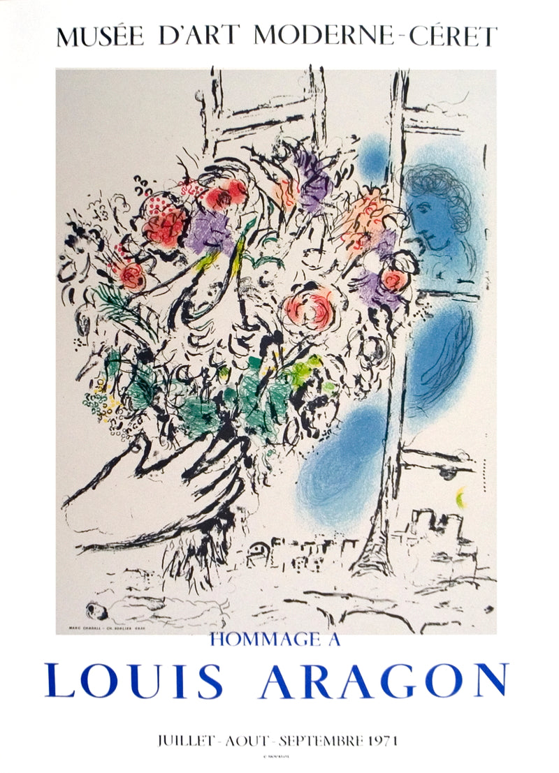 "MARC CHAGALL Floral Offering 26.5"" x 19.5"" Lithograph 1971 Modernism Multicolor"