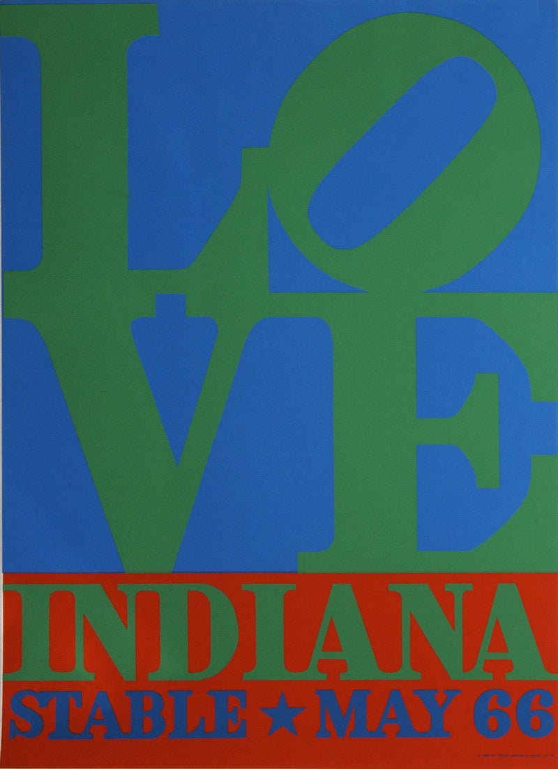 "ROBERT INDIANA LOVE-Stable 32.5"" x 24.25"" Serigraph 1971 Pop Art Green, Blue, Red Silkscreen"