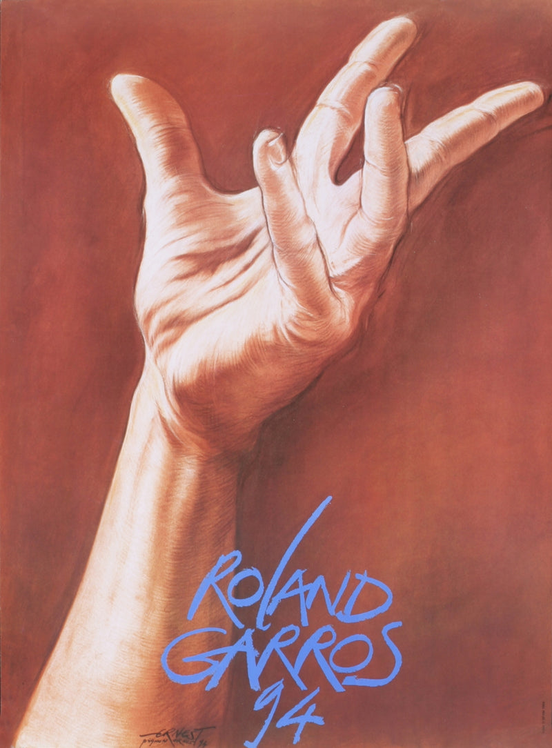 "ERNEST PIGNON-ERNEST Roland Garros French Open 30"" x 22"" Poster 1994 Contemporary Red Hand"