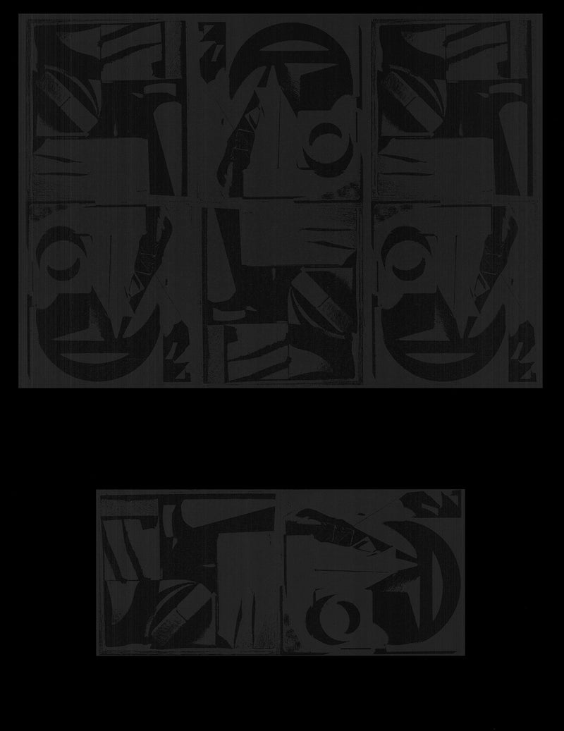 LOUISE NEVELSON Black Repetition 26 x 20 Poster 1972 Abstract Black Shapes, Designs, Black, Grey, Dark, Female, Woman, Artist