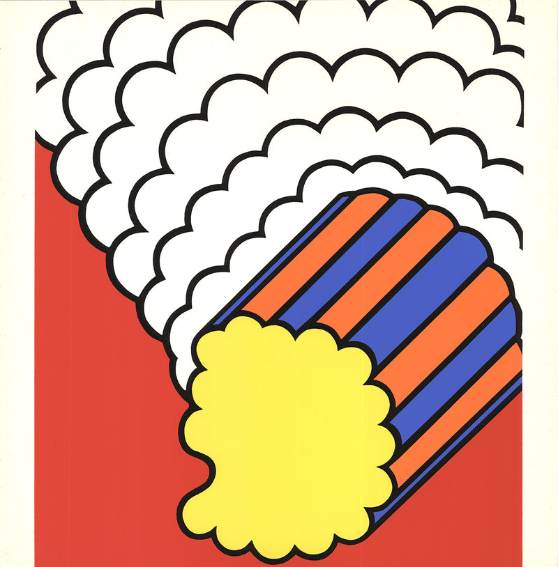 "NICHOLAS KRUSHENICK White Smoke Red Sky 19"" x 19"" Serigraph 1968 Pop Art Multicolor, Red Silkscreen, Shape, Design"