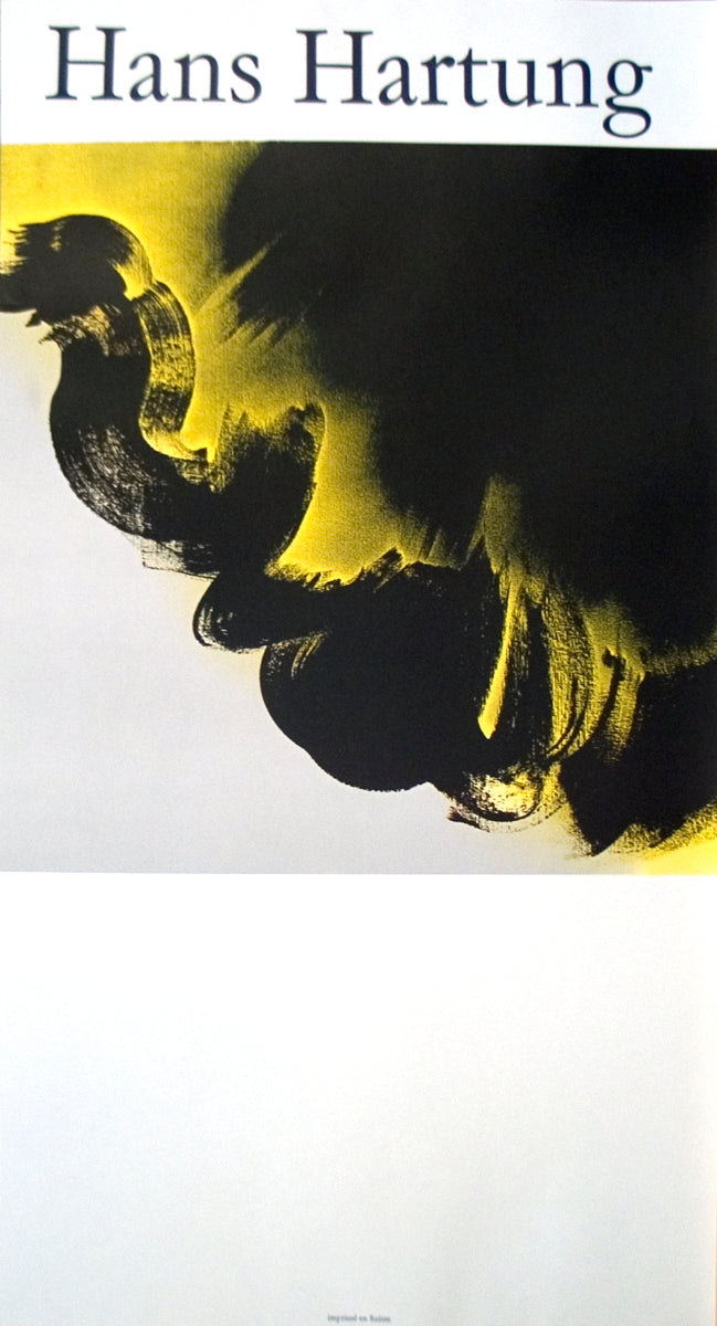 HANS HARTUNG Stormcloud 36.5 x 19.5 Lithograph 1985 Abstract Yellow, Black, Gray