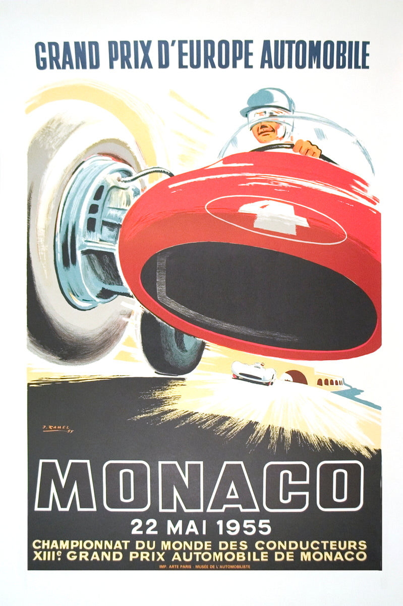 "JEAN RAMEL Monaco Grand Prix 1955 39.5"" x 26.75"" Lithograph 1985 Vintage Red, Black, White Car"