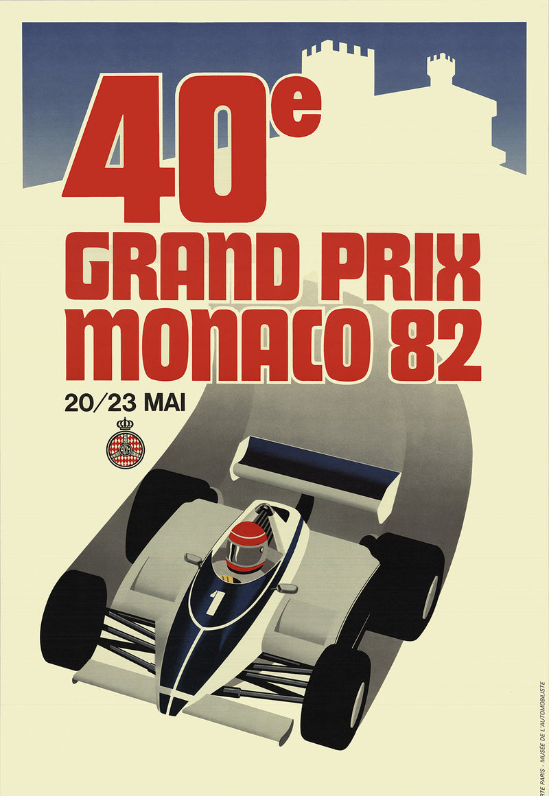 "Monaco Grand Prix 1982 39.25"" x 25.75"" Lithograph 1982 Vintage Red, Gray, Blue Car"