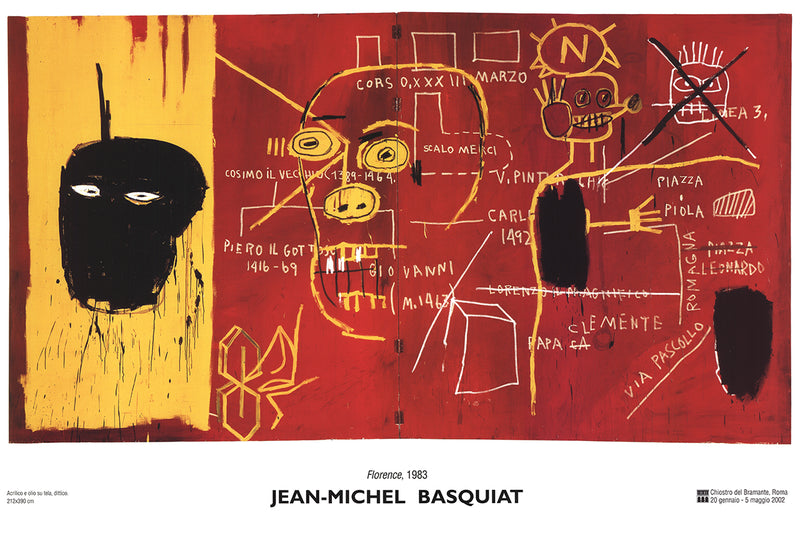 "JEAN-MICHEL BASQUIAT Florence 25.5"" x 35.75"" Poster 2002 Pop Art Yellow, Red, White, Black"