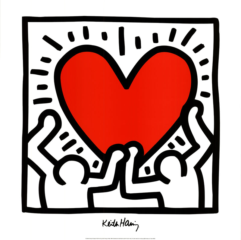 "KEITH HARING Untitled (1988) 27.5"" x 27.5"" Poster 1995 Pop Art Red, Black & White Heart, Love"