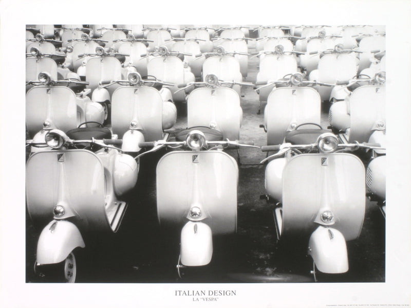 "La Vespa 23.75"" x 31.5"" Poster Photography Black & White Design, Scooter"