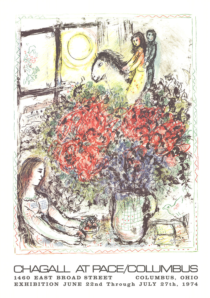 "MARC CHAGALL La Chevauchee 31"" x 22"" Lithograph 1979 Modernism Multicolor, White, Pastel, Yellow Flowers"