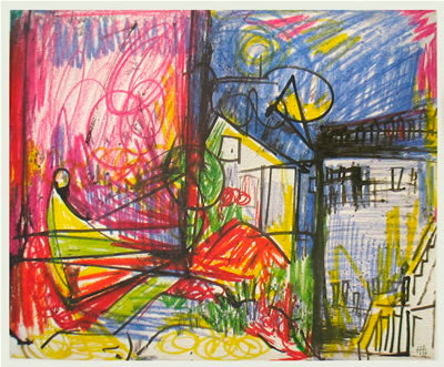 HANS HOFMANN Deck of 50 cards 10 x 12 Poster Expressionism Multicolor, White, Yellow, Red, Blue Drawing