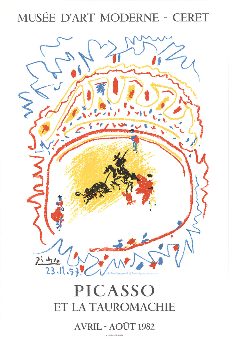 PABLO PICASSO Tauromachie 35 x 23.5 Lithograph 1982 Cubism Multicolor, White, Yellow, Red, Blue