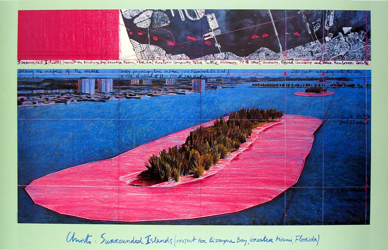 "JAVACHEFF CHRISTO Surrounded Islands (1982) 25"" x 39"" Poster 1983 Contemporary Pink, Blue, Brown, Black, White"