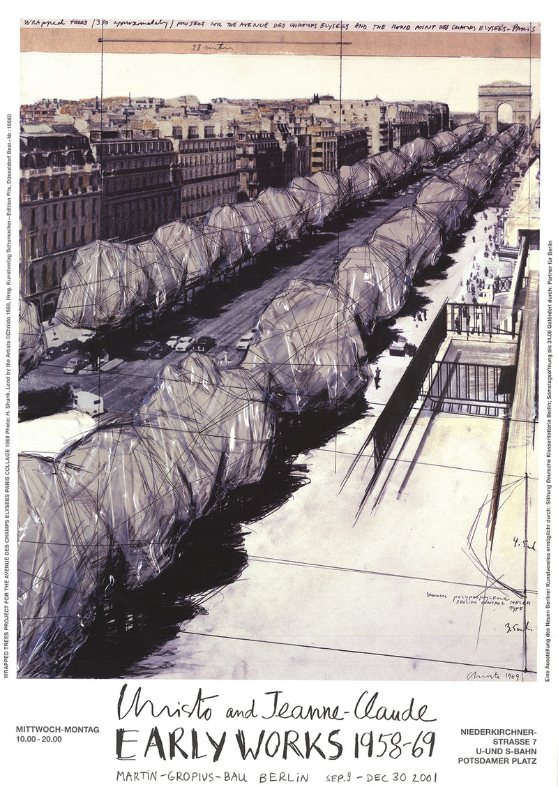 "JAVACHEFF CHRISTO Champ Elysees, Paris 33"" x 23.2"" Poster 2001 Contemporary Brown"