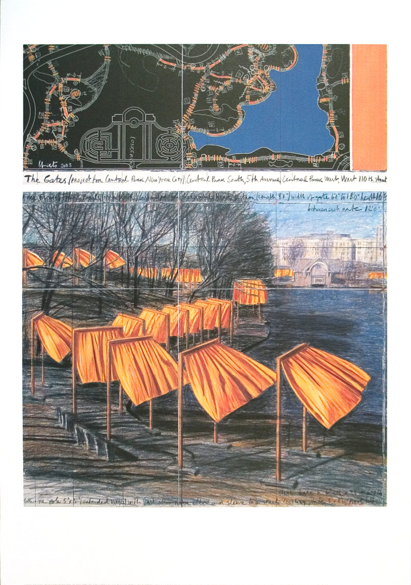 "JAVACHEFF CHRISTO Project for the Gates VIII 39.25"" x 27.5"" Poster 2003 Contemporary Orange, Blue, Black, Yellow, White,"