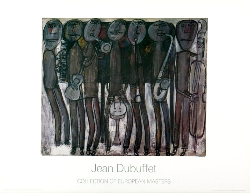 "JEAN DUBUFFET New Orleans Jazz Band 27.5"" x 35.5"" Poster Outsider Art Black & White, Brown"