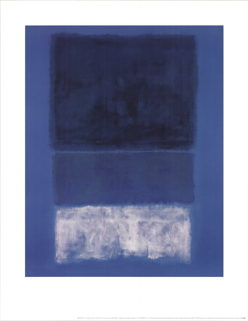 "MARK ROTHKO No 14 White and Greens in Blue 35.5"" x 27.5"" Poster 1998 Abstract Blue, Black, White"
