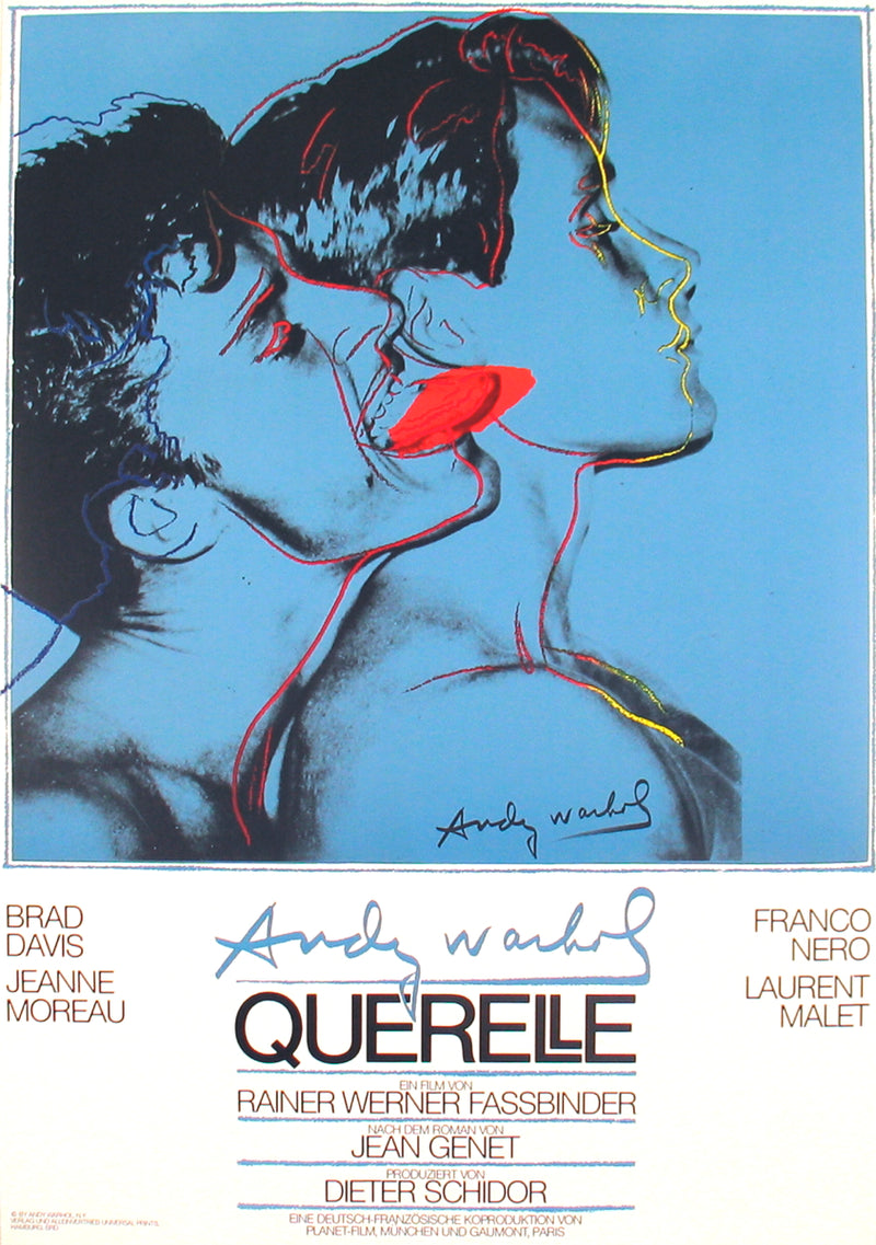 "ANDY WARHOL Querelle Blue 39"" x 27.5"" Poster 1983 Pop Art Blue, Red"