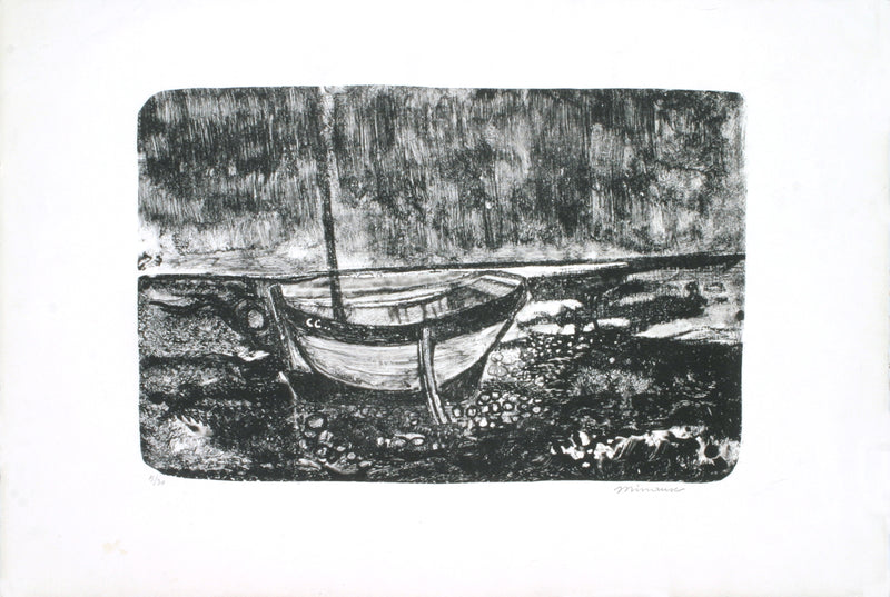 "ANDRE MINAUX Boat Scene SIGNED 15"" x 22"" Lithograph 1970 Modernism Black & White"