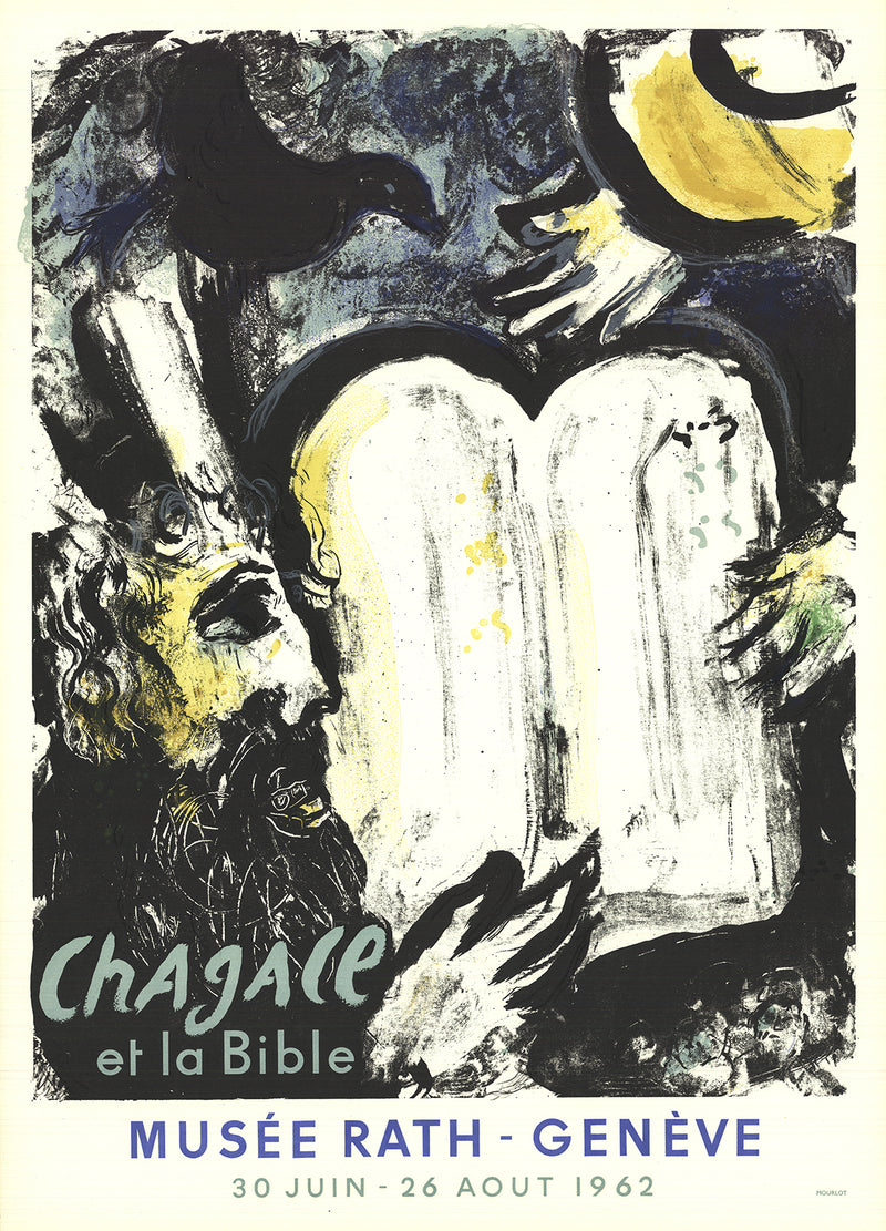"MARC CHAGALL Moses and the Tablets of the Law 29.75"" x 21.25"" Lithograph 1962 Modernism Black, White, Yellow, Blue"
