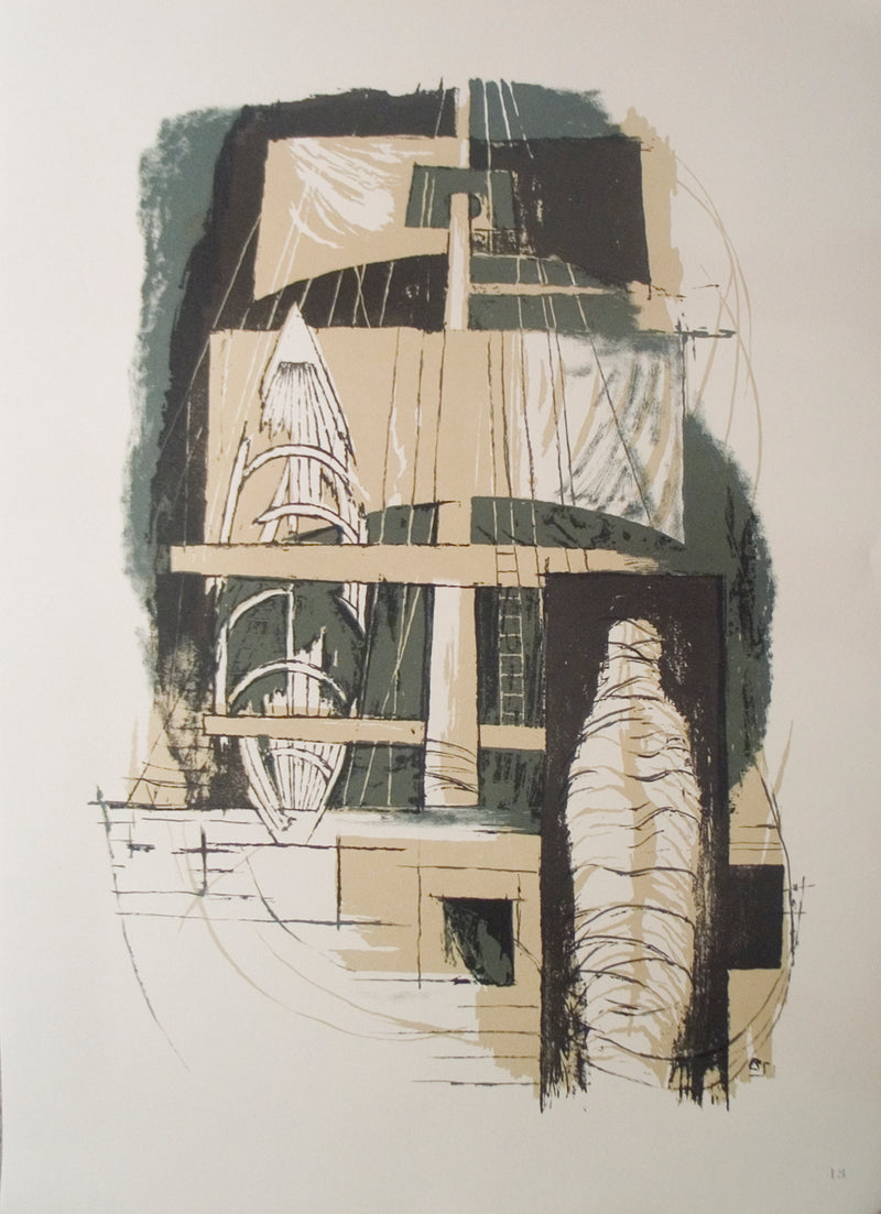 "BENTON SPRUANCE The Delight 22"" x 16"" Lithograph 1968 Modernism Gray, Brown Boat, Sailing"