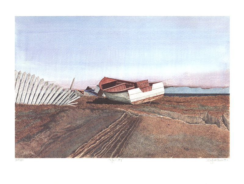 DWIGHT BAIRD High 'n Dry, Prince-Edward Island SIGNED 19 x 25 Offset Lithograph 1988 Outsider Art Brown, White, Blue