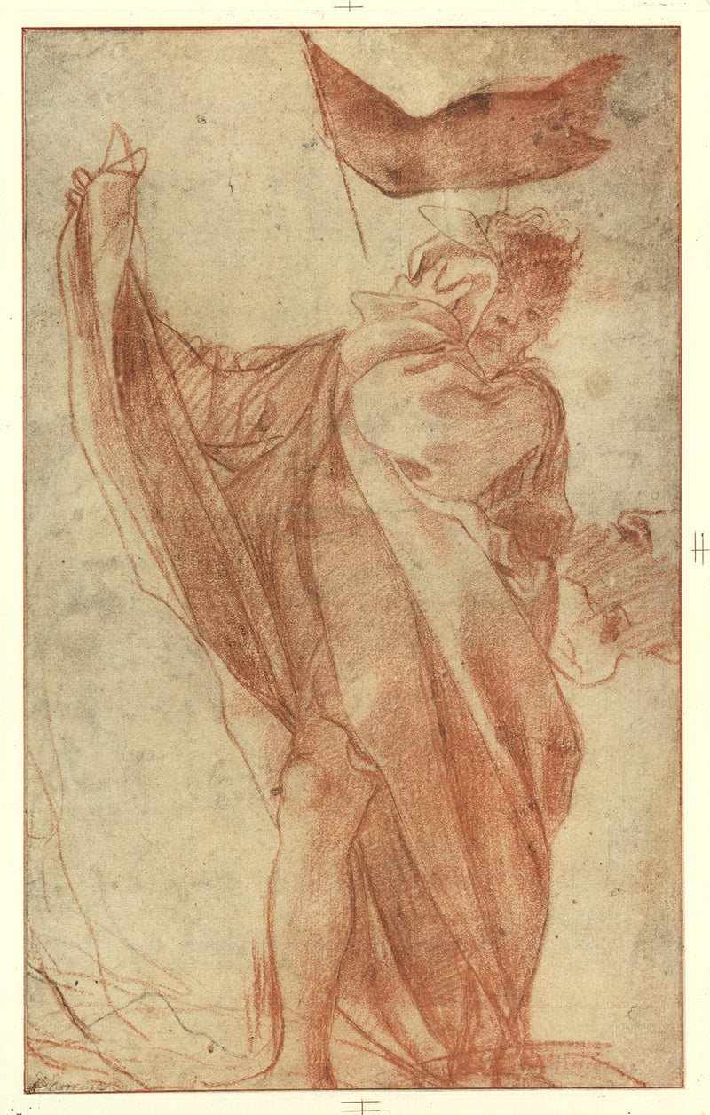 "ANTONIO ALLEGRI DA CORREGGIO Study for One of the Two Apostles 23.5"" x 17.75"" Lithograph 1930 Renaissance Brown"