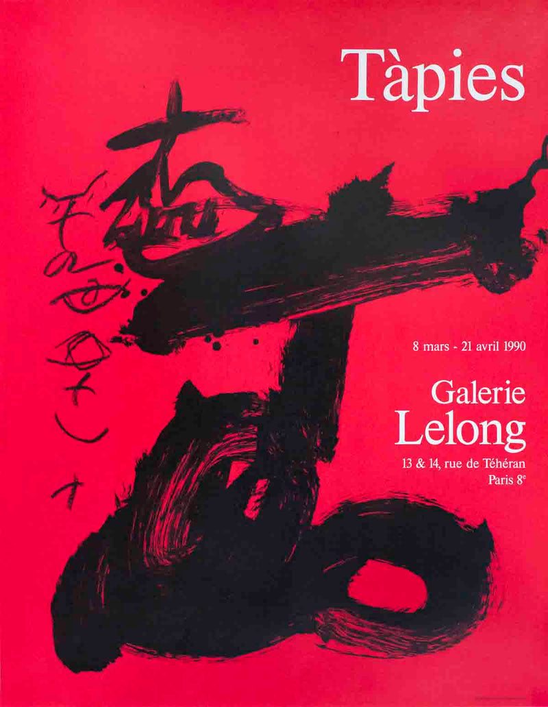 "ANTONI TAPIES Black and Red, Galerie Lelong 30.5"" x 24.25"" Lithograph 1990 Expressionism Pink, Red, Black, White"