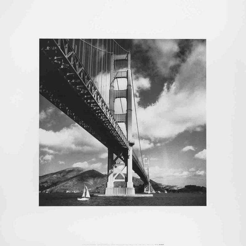 "LAMBERT Golden Gate Bridge 15.75"" x 15.75"" Poster Black & White, Gray"