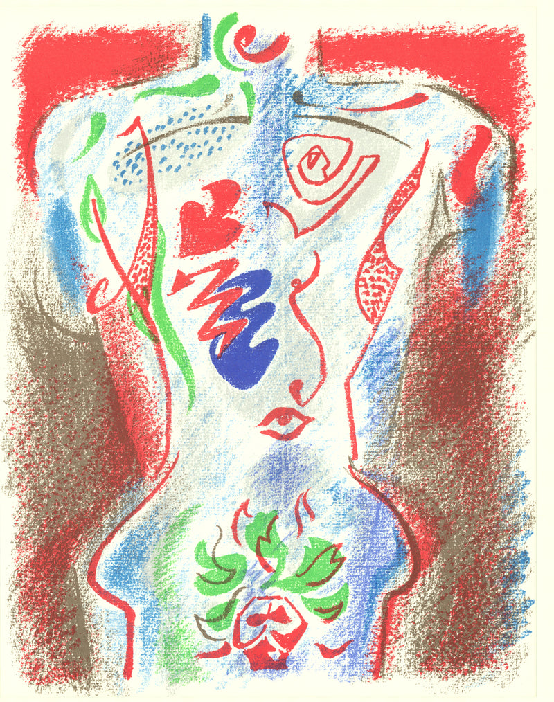 "ANDRE MASSON XXe Siecle no. 38 12.25"" x 9.5"" Lithograph 1972 Expressionism Multicolor, Red Human, Torso"