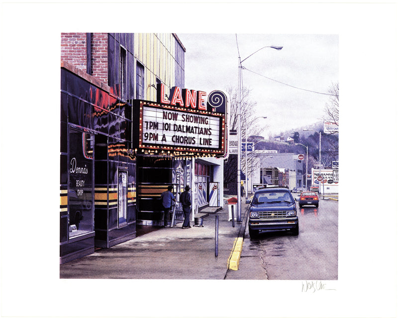 DAVIS CONE Lane Theater SIGNED 17.5 x 22.5 Serigraph 1995 Realism Multicolor Photorealism, Vintage, Theater, Film, Retro, Neon, Sign, Silkscreen