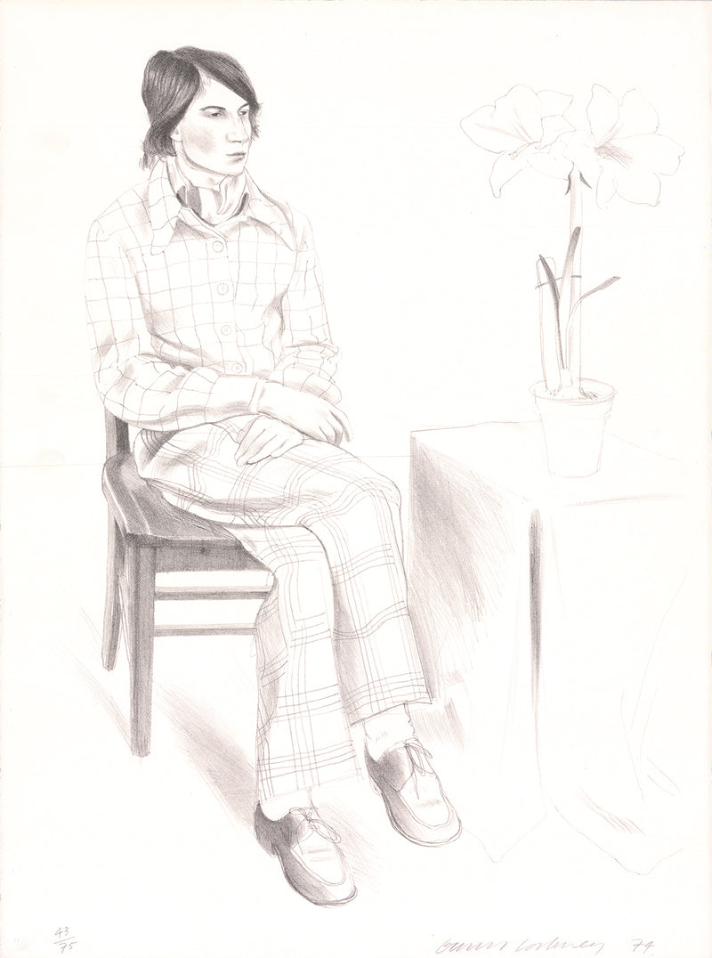 "DAVID HOCKNEY Yves Marie SIGNED 30"" x 22.25"" Lithograph 1974 Pop Art Gray, Neutral Portrait, Man, Flowers, Sitting"