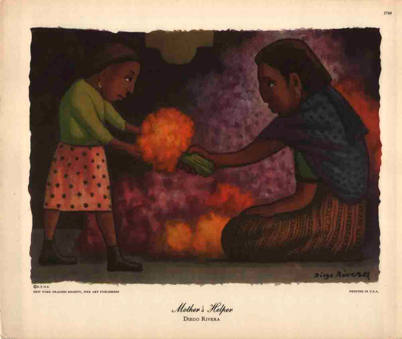 DIEGO RIVERA Mother's Helper 8 x 9.5 Poster Purple, Orange Child, Daughter, Mexican