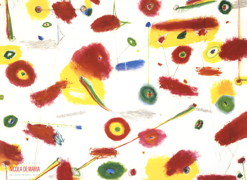 NICOLA DE MARIA Many Kisses 38 x 52 Poster 1989 Contemporary Red, Multicolor Spots, Primary, Colors