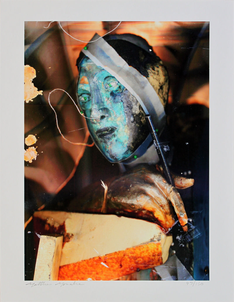 MATTHEW MONAHAN Untitled (Self Portrait) SIGNED 14 x 11 Giclee 2007 Contemporary Multicolor, Orange, Black