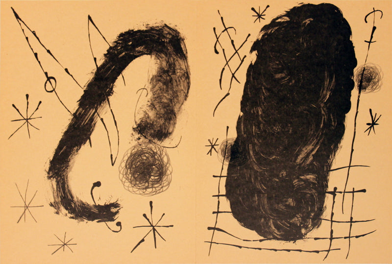 "JOAN MIRO Derriere le Miroir, no. 151-152, pg 18,19 (Double page) 15"" x 21.75"" Lithograph Surrealism Brown"