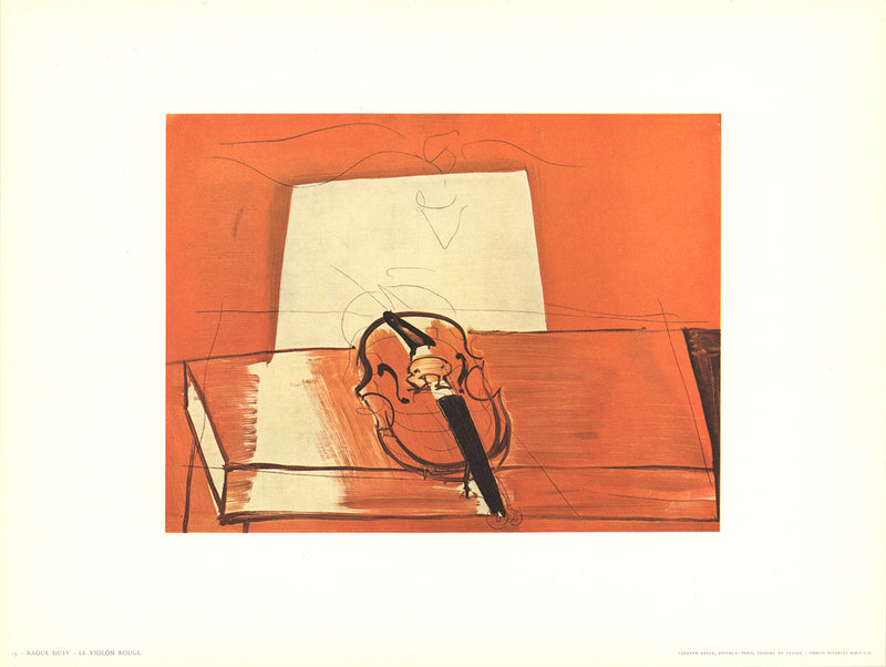 "RAOUL DUFY Le Violin Rouge 9.5"" x 12.5"" Poster Modernism Orange"