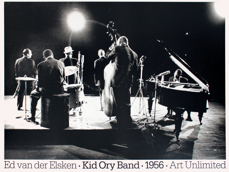 ED VAN DER ELSKEN Kid Ory Band (1956) 27.5 x 39.25 Poster 1990 Photography Black & White