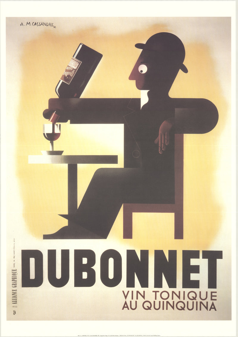 "A.M. CASSANDRE Dubonnet 39.25"" x 27.5"" Poster 1998 Vintage Brown, Black, White Wine, French, Drinking, Vintage"