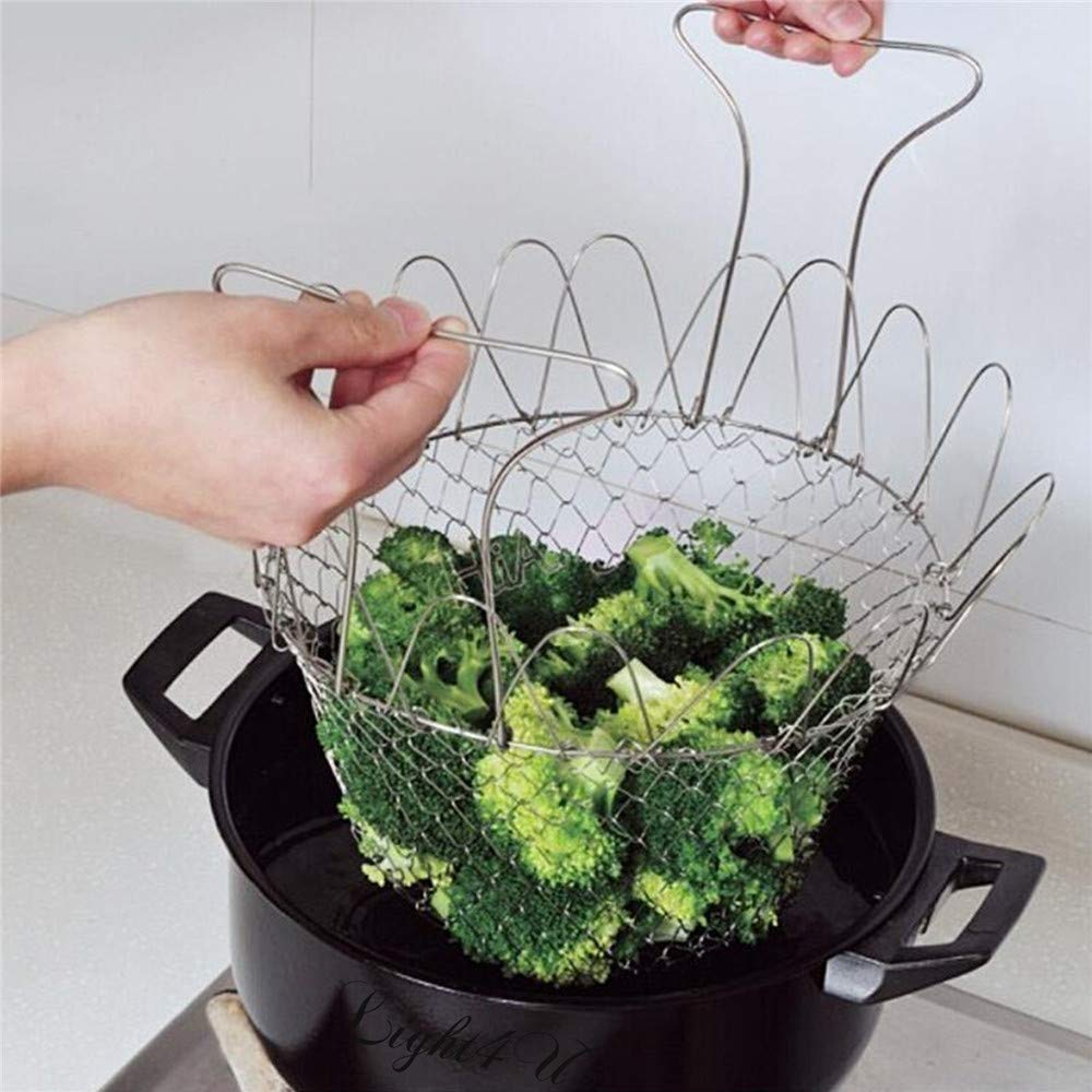 Foldable Multi-Purpose Stainless Steel Basket
