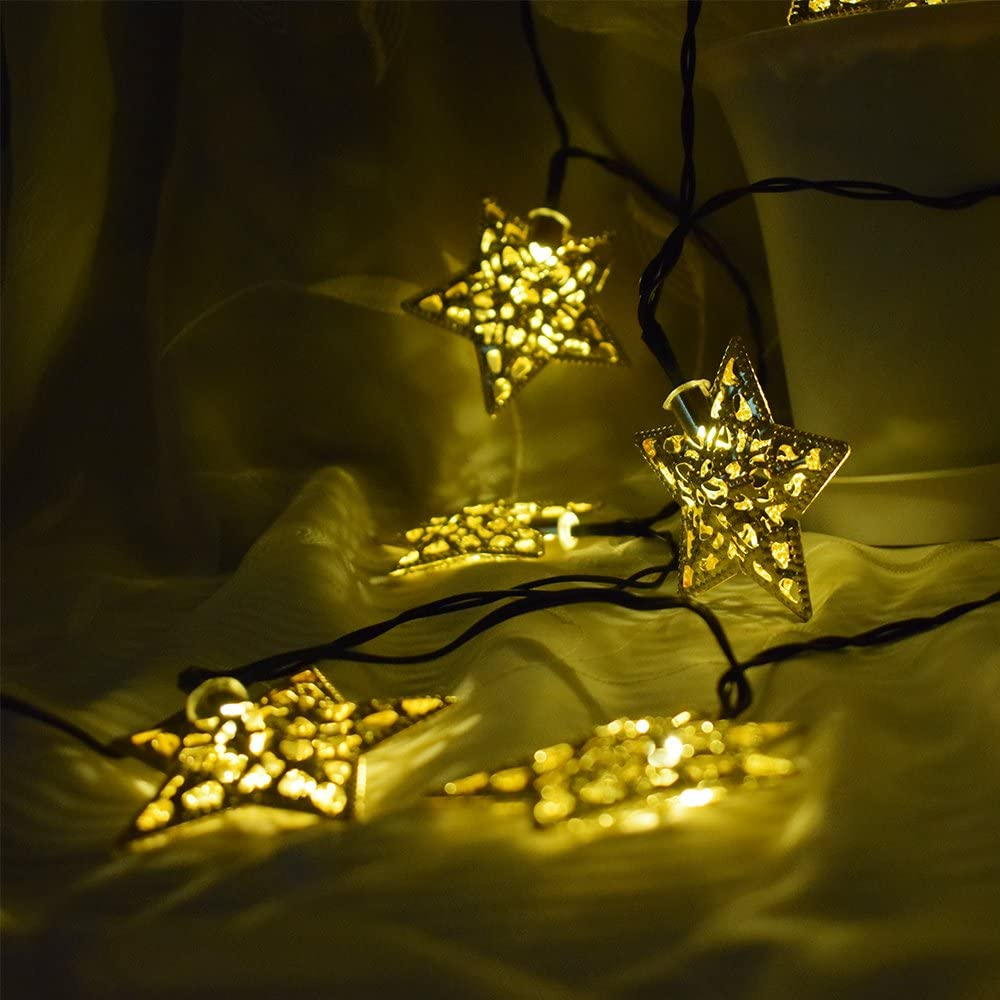 Solar-Powered LED Metal Star Lights