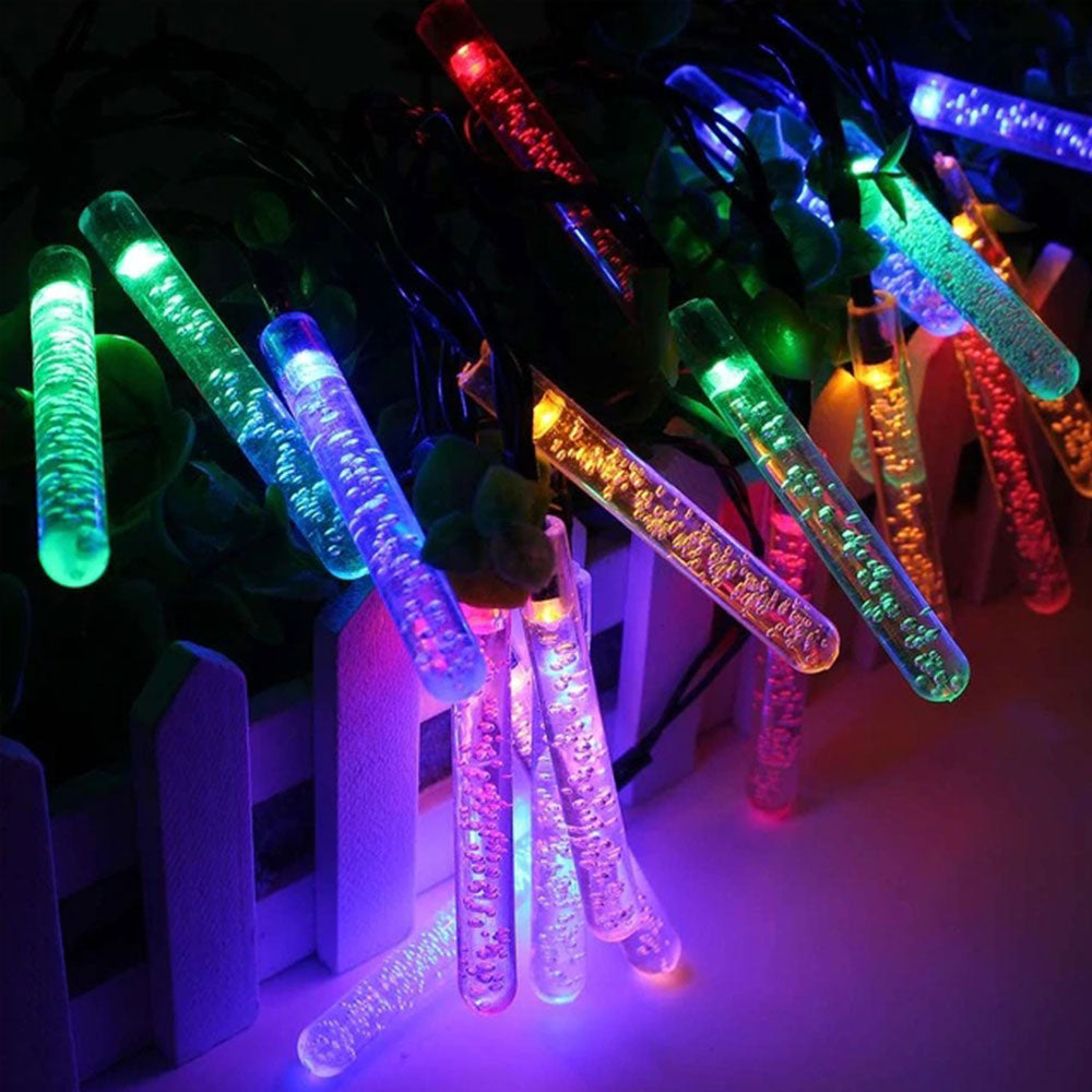 Solar-Powered LED Icicle Lights