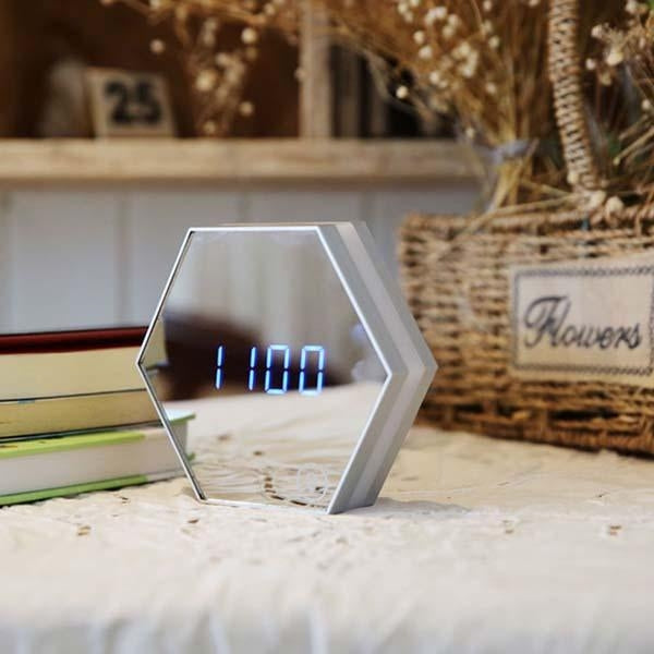3 in 1 Mirror Alarm Clock With Light