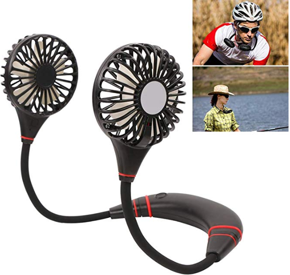 Wearable Double Fans with Power Bank