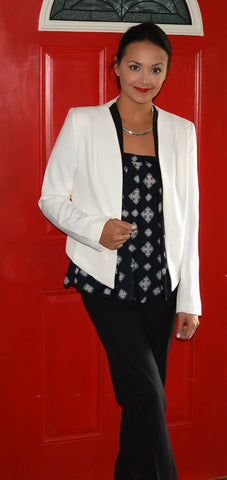 Elan Off the Shoulder Blouse and a Blazer