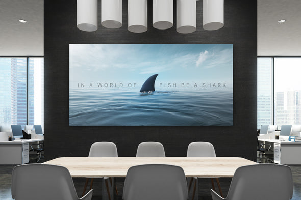 Be a shark inspirational office art by Canvas Haven