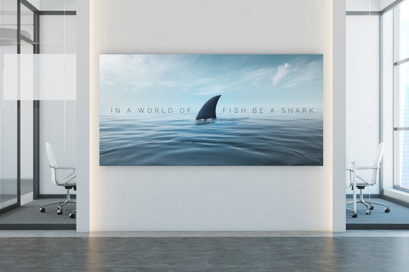 Be a shark motivational office art by Canvas Haven