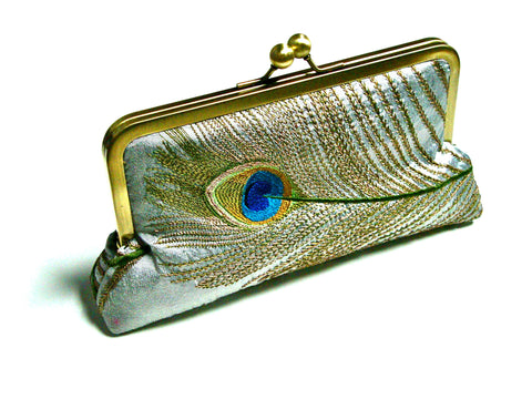 Silver Tally Clutch Lined in Royal Purple Dupioni Silk