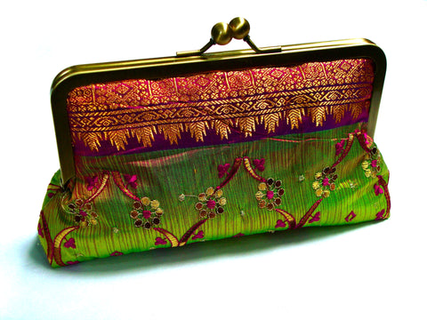 Fiaz Co Mailei clutch 100% embroidered silk sari lined in 100% dupioni silk