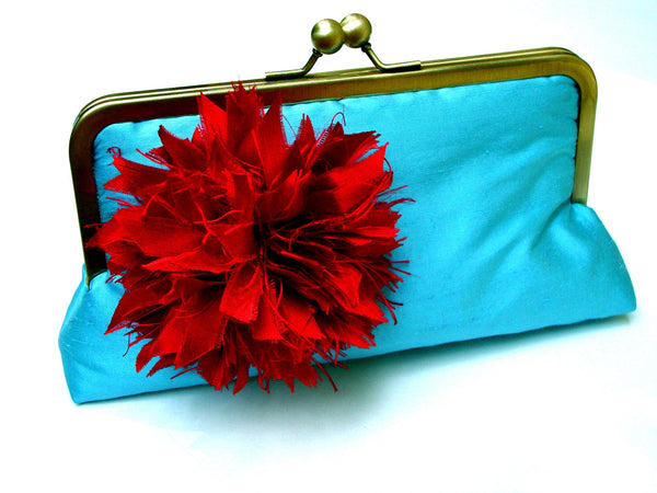 Rory Clutch Lined in Victorian Rose Dupioni Silk